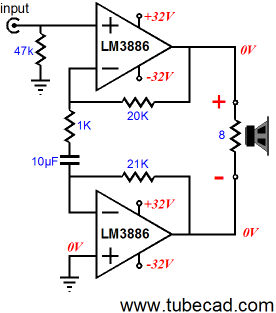 Lm Differential Amplifier on Lm3886 Amplifier Circuit