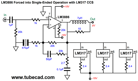 LM3886 Forced into Single-Ended Operation with LM317 CCS