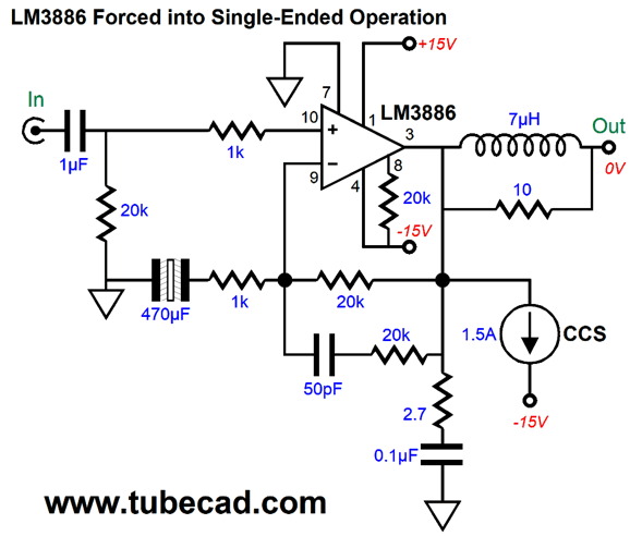 LM3886 Forced into Single-Ended Operation